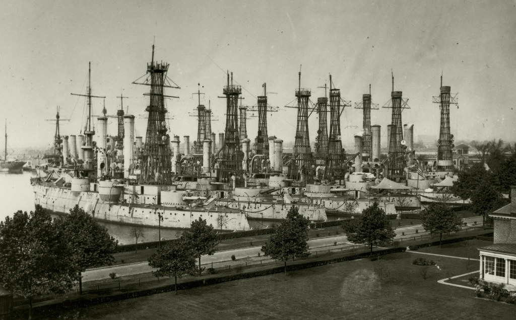 "Cagemast forest in Philadelphia Navy Yard.<br>Decomissioned pre-dreadnoughts may seem to be in a perfect shape but their time is over. Photo taken on October 22, 1919.<br>Source: <a href=""http://www.reddit.com/r/WarshipPorn/comments/fatrks/4423x2347_cagemast_forest_planted_in_philadelphia/?utm_source=share&utm_medium=web2x"" target=""_blank"">http://www.reddit.com/r/WarshipPorn/comments/fatrks/4423x2347_cagemast_forest_planted_in_philadelphia/?utm_source=share&utm_medium=web2x</a> <br>"