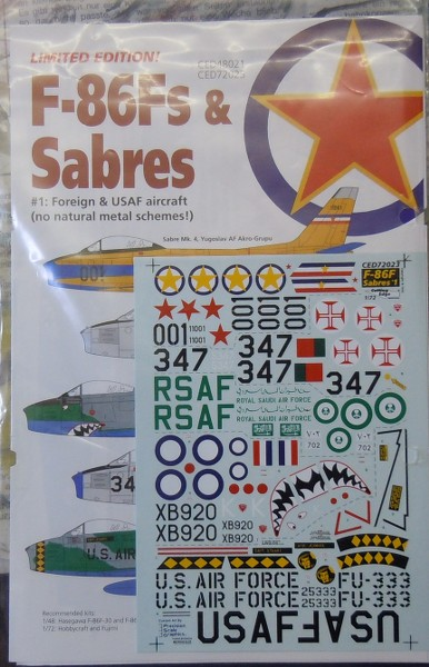 North American F86F Foreign Service Decals