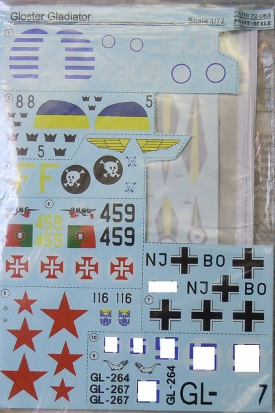 Gloster Gladiator Decals