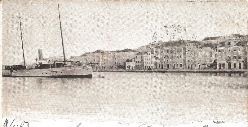 kuk Yacht Ossero on a postcard 1903